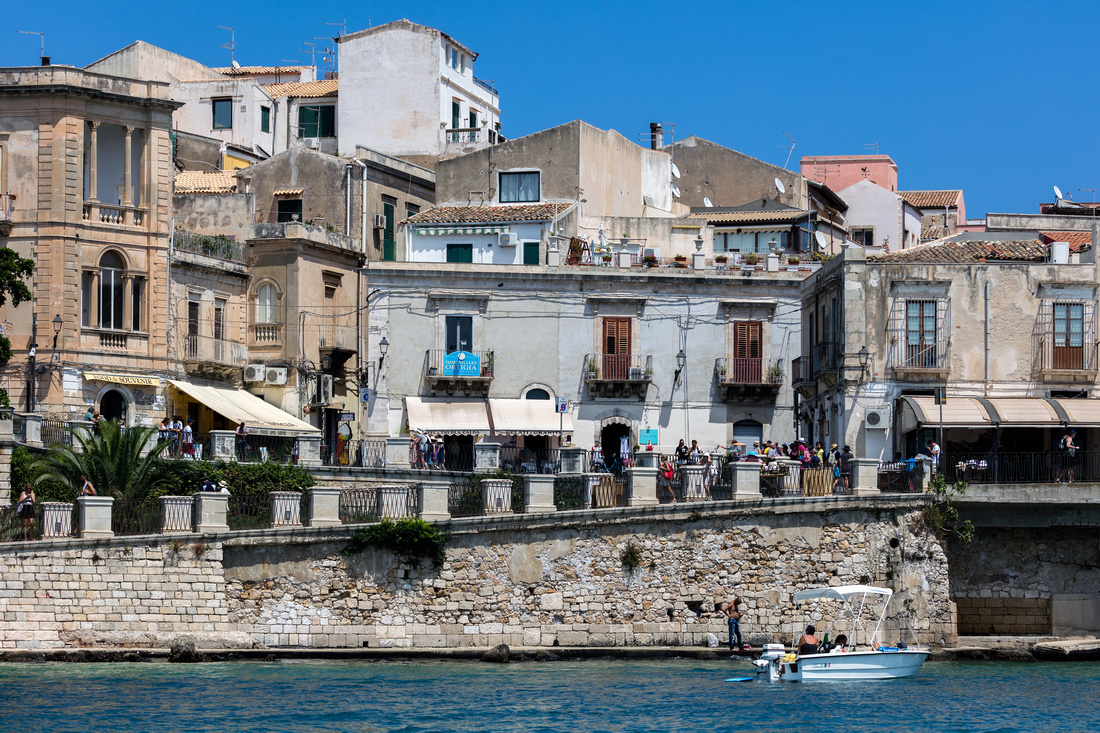 Waterfront of the Ortigia island in Sicily, Italy